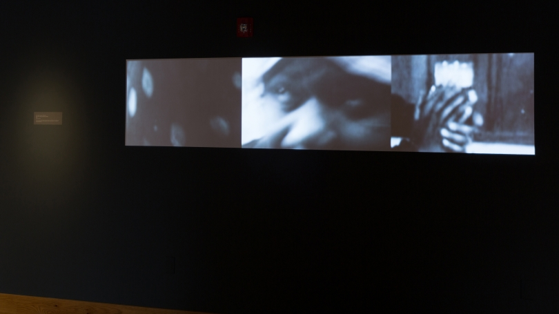 Fig. 23. Terry Adkins's video work Mute, 2007, projected on the back wall of Hood Downtown. Photo by Joseph Beaudoin.