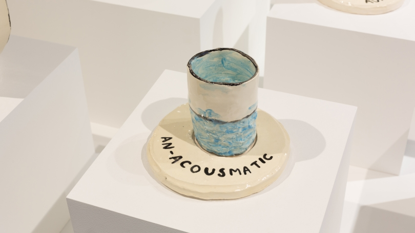 Fig. 32. An-Acousmatic, ceramic. Part of Christine Sun Kim's Grid of Prefixed Acousmatics, 2017, Strauss Gallery, Hopkins Center for the Arts. Photo by Joseph Beaudoin.