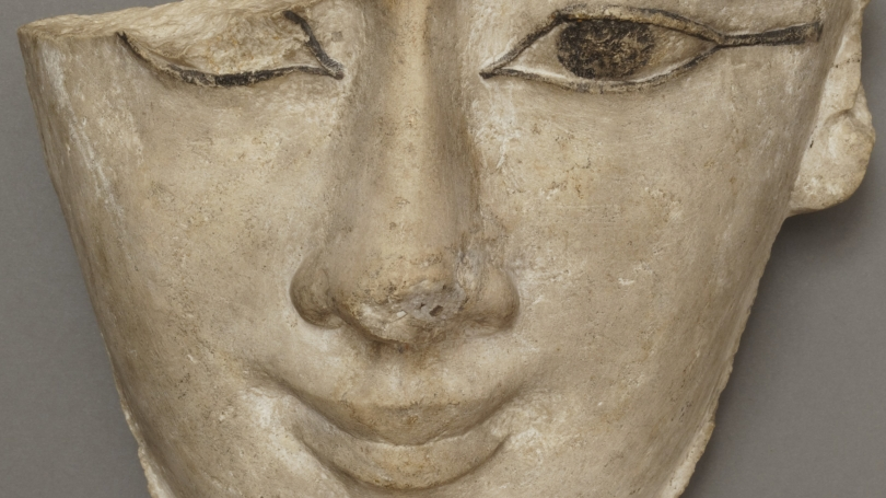 Egyptian, Face from Sarcophagus Lid (detail), Ptolemaic Period (323-30 BCE), limestone with black paint. Hood Museum of Art, Dartmouth: Museum Purchase; 39.64.6721.