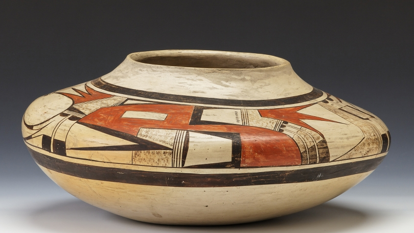 Nampeyo, American, 1858/1859 - 1942, Seed Jar, 1900-1910, hano Polychrome with white slip. Hood Museum of Art, Dartmouth: Gift of Emily W. and George H. Browne; 42.12.8107.