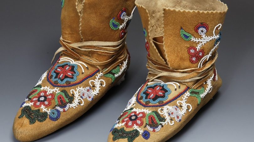 Gwich'in, Moccasins (Dance Boots), collected 1903-1904, Native tanned and smoked hide, glass beads, metal beads, thread. Hood Museum of Art, Dartmouth: Gift of Lt. Col. Alfred T. Clifton, Class of 1927P; 42.15.7813.