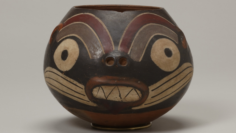 Nasca (Nazca), Bowl in the form a Feline, Early Nasca, 200-300, terracotta with white, gray, red, orange, and black slip. Hood Museum of Art, Dartmouth: Gift of Frederick E. and Constance M. Landmann; 987.48.26895.