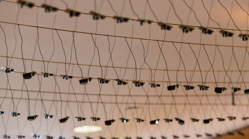 Fig. 9. Interior detail of the individual circuits of Laura Maes's Spikes, 2017, Cummings Hall, Thayer School of Engineering. Photo by Joseph Beaudoin.