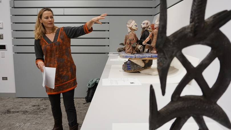 Anthropology Professor Sienna Craig discusses objects with her anthropology class in a BCOS study gallery.  Photo by Brian Wagner.