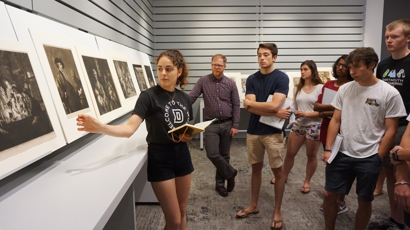 A student presents on a print in her art history class, European Art 1750–1850, taught by Allan Doyle. Photo by Amelia Kahl.