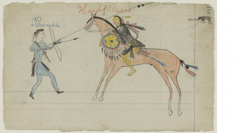 """Unknown artist (""""Edwards"""" Ledger), Southern Inunaina and / or Southern Tsistsistas / American,Untitled (A Warrior Counts Coup on a Chaticks Si Chaticks (Pawnee) Warrior), page number 110, from the """"Peter W. Edwards Ledger"""", 1860s, Graphite and colored pen"""