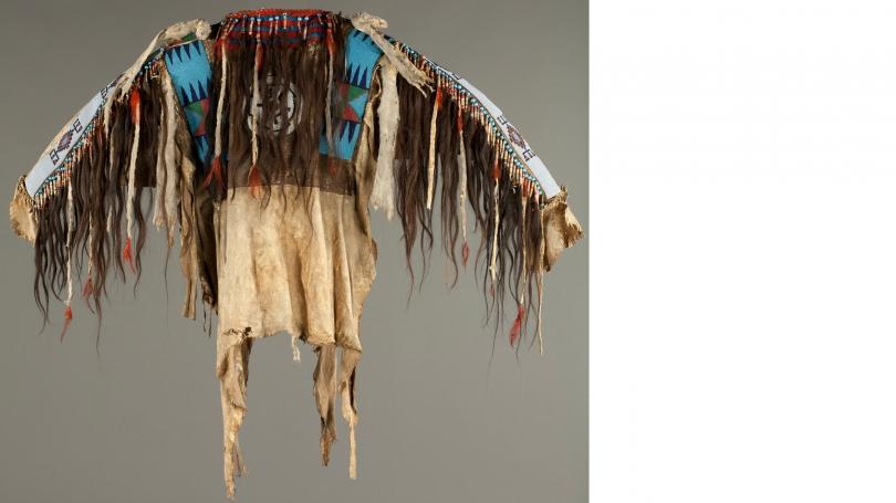 Blackfeet beaded and fringed hide men's wearing shirt, c. 1880s. Purchased through the Mrs. Harvey P. Hood W '18 Fund; 2009.14
