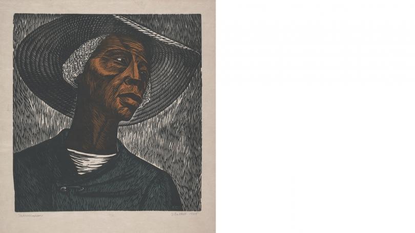 Elizabeth Catlett, Sharecropper, 1952, printed 1968, color linoleum cut on medium weight, cream, Japanese laid paper. Purchased through the Mrs. Harvey P. Hood W '18 Fund; 2012.62.