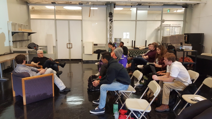 Bill Fontana speaks with students during Spencer Topel's Sound Art Practice class.
