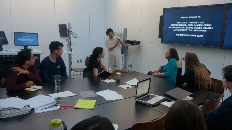 Christine Sun Kim speaks about her work and practice to studio art majors during Christina Seely's senior seminar.
