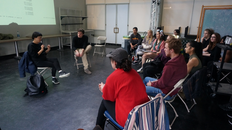 Christine Sun Kim speaks with students during Spencer Topel's Sound Art Practice class.