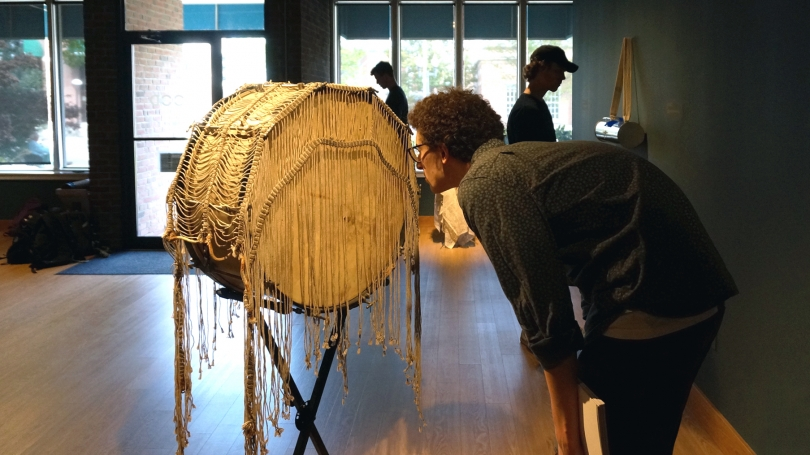 Students explore the work of Terry Adkins during Spencer Topel's Sound Art Practice class.Photo by Amelia Kahl.