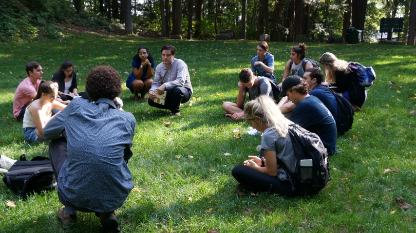 Students listen to Alvin Lucier's 5 Graves to Cairo during Spencer Topel's Sound Art Practice Class