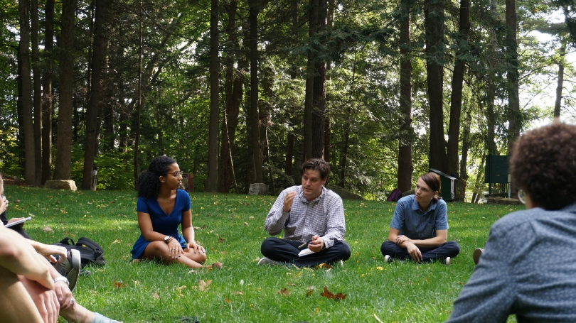 Spencer Topel leads a discussion on Alvin Lucier's 5 Grave to Cairo during his Sound Art Practice Class