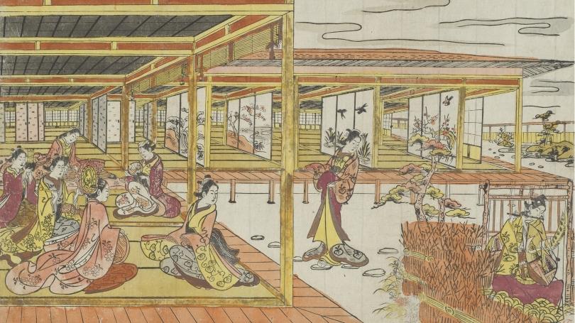 Attributed to Nishimura Shigenaga, Japanese, 1697-1756, Yoshitsune Playing his Flute at Princess Joruri's Mansion (detail), about 1740, color woodblock print, sumizuri-e with hand-applied color (oban yoko-e).