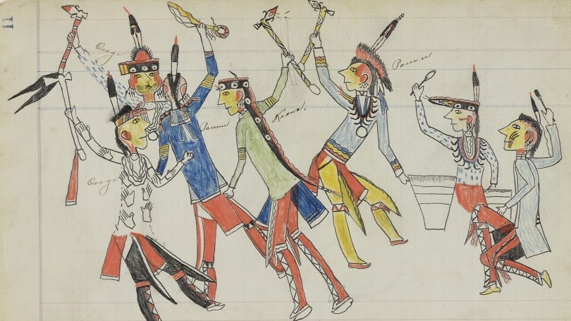 "Unknown Artist (Julian Scott Artist A), Ka'igwu, active late 19th century, Untitled (Osage War Dance), page number 11, from the ""Julian Scott Ledger"", 1880, graphite, colored pencil, watercolor, crayon, and ink on laid ledger paper."