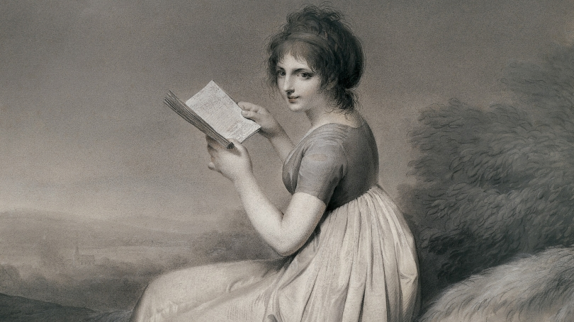Louis Leopold Boilly, French, 1761-1845, Young Woman Reading in a Landscape (Jeune femme lisant dans un passage) (detail), 1798, watercolor, black and white chalk with sanguine and white highlights on medium weight, smooth, off-white wove paper.