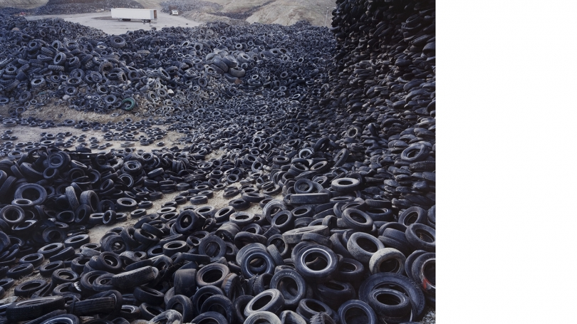 Edward Burtynsky, Canadian, born 1955, Oxford Tire Pile #1, Westley California, 1999, chromogenic photograph. Hood Museum of Art, Dartmouth: Gift of Jane and Raphael Bernstein; 2010.84.62.