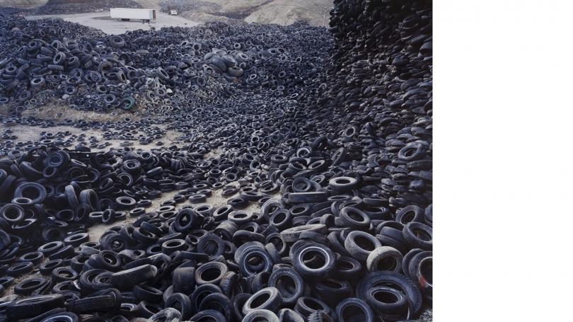 Edward Burtynsky, Canadian, born 1955, Oxford Tire Pile #1, Westley California, 1999, chromogenic photograph. Hood Museum of Art, Dartmouth: Gift of Jane and Raphael Bernstein; 2010.84.62.