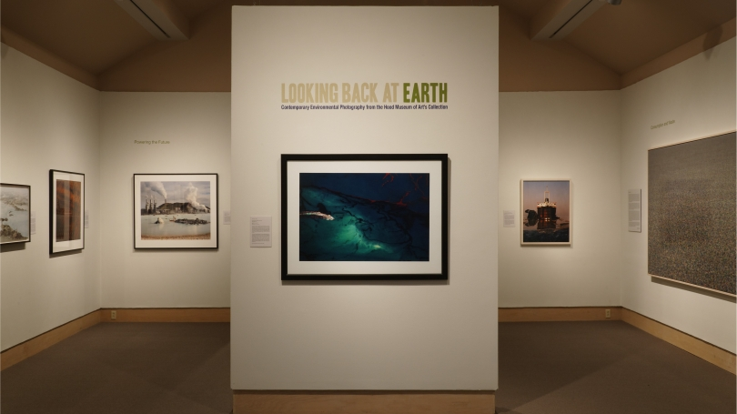 Looking Back at Earth: Environmental Photography from the Hood Museum of Art installed in the Friends and Cheatham Galleries. Photo by Jeffrey Nintzel.