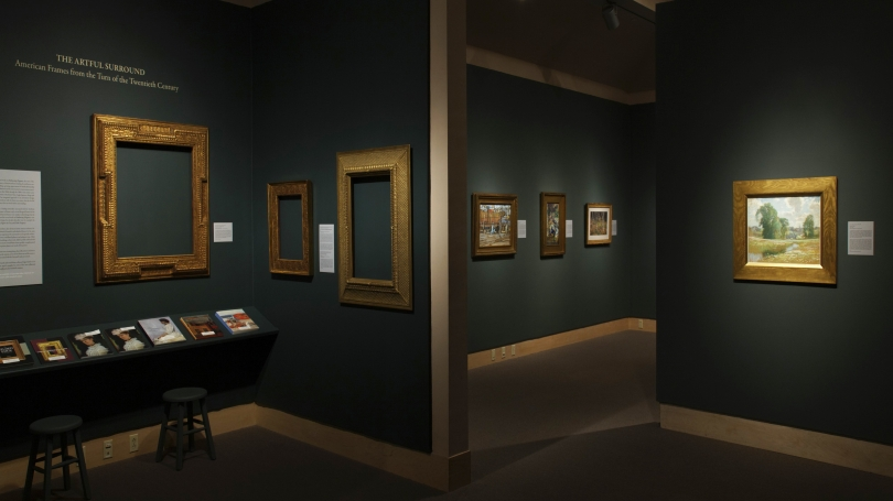 Embracing Elegance: American Art from the Huber Family Collection installed in the Hood Museum's Friends and Cheatham Galleries. Photo by Jeffrey Nintzel.