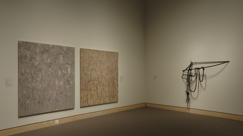 """Contemporary Abstraction"" installed in the Hood Museum's Lathrop Gallery. Photo by Alison Palizzolo."