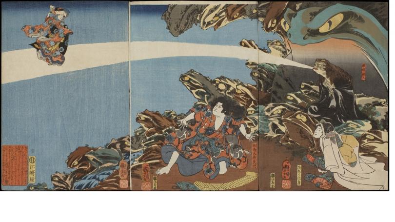 Utagawa Kuniyoshi, Gama Sennin, the Toad Spirit, Teaching Yoshikado and His Sister Takiyasha the Arts of Magic, 1845, color woodblock print. Purchased through the Julia L. Whittier Fund; 2008.62.
