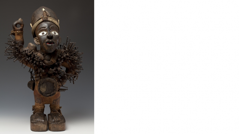 Solongo style, Nkisi Nkondi, power figure, 19th century, wood and mixed medium.