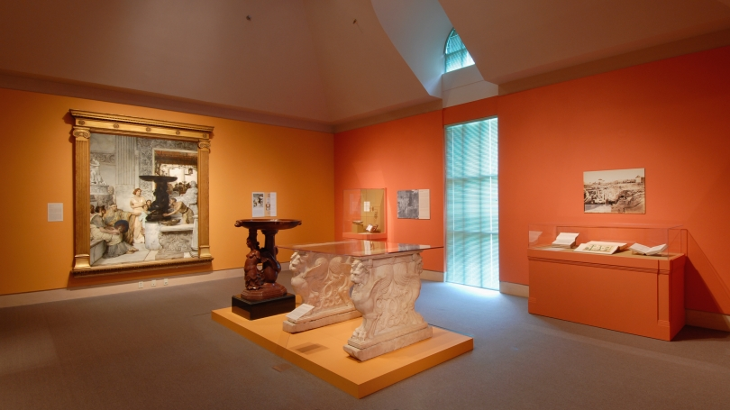 The exhibition Alma-Tadema and Antiquity: Imagining Classical Sculpture in Late-Nineteenth-Century Britain installed in Harrington Gallery. Photo by Jeffrey Nintzel.