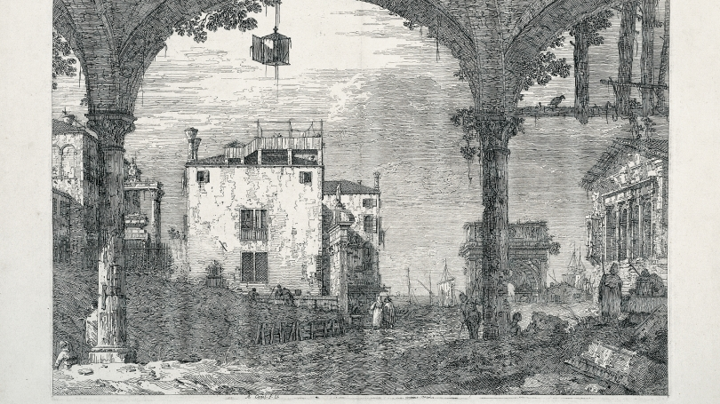 Giovanni Antonio Canal (Canaletto), The Portico with the Lantern