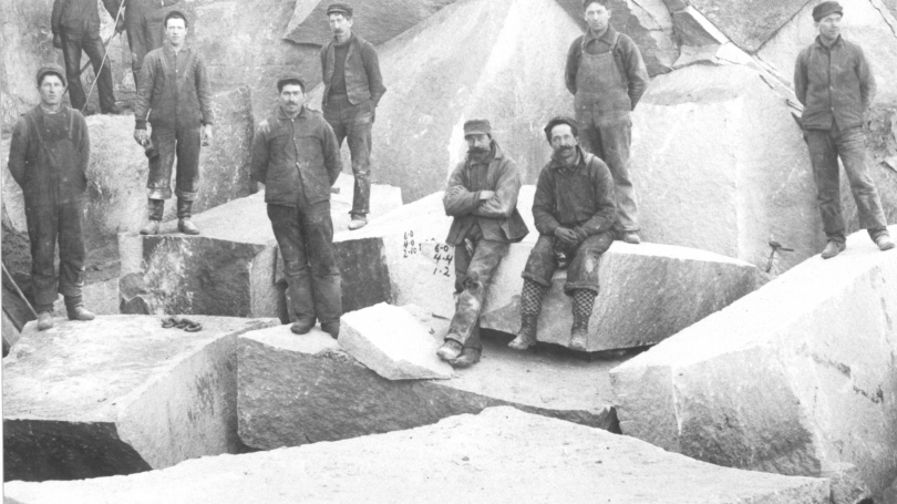 Photographer unknown, Granite quarry and workers