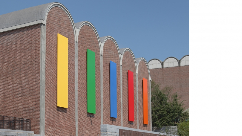 Ellsworth Kelly, Dartmouth Panels, 2012, painted aluminum. Gift of Debra and Leon Black, Class of 1973; 2012.35. Photo by Jeffrey Nintzel.