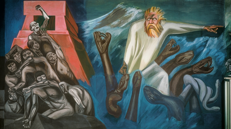 José Clemente Orozco, Mexican, 1883 - 1949, The Epic of American Civilization: The Departure of Quetzalcoatl (Panel 7), 1932-1934, fresco. Hood Museum of Art, Dartmouth: Commissioned by the Trustees of Dartmouth College; P.934.13.7