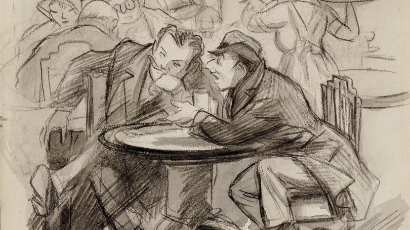 Don Freeman, Two Men at Café Table