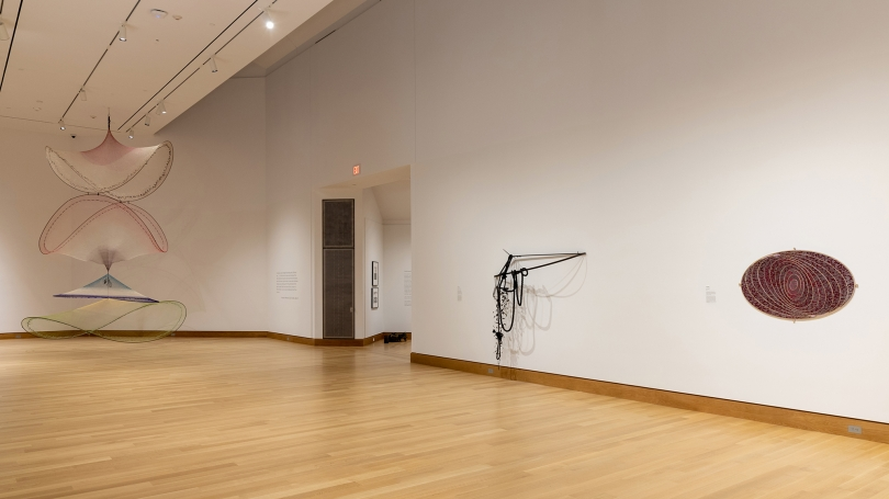 A photograph of a museum gallery and installation of contemporary art.