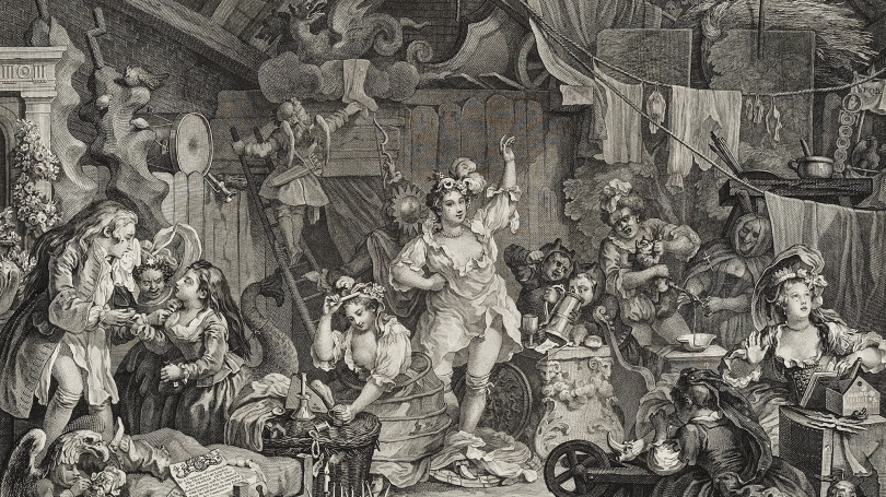 William Hogarth, English, 1697–1764, Strolling Actresses Dressing in a Barn (detail), published March 28, 1738, engraving. Gift of Jane and Raphael Bernstein; 2010.84.80