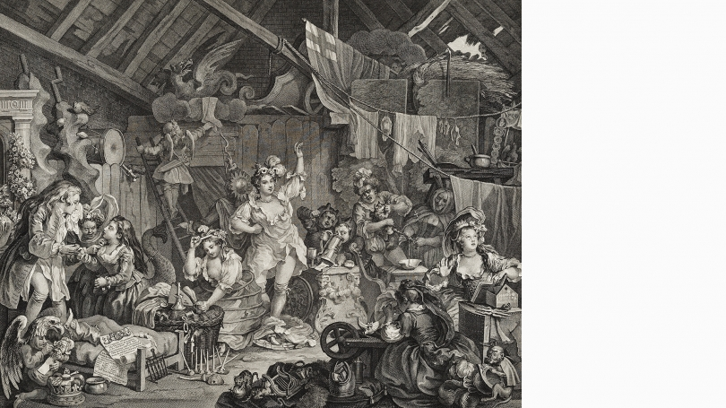 William Hogarth, Strolling Actresses Dressing in a Barn, published March 28, 1738, engraving. Gift of Jane and Raphael Bernstein; 2010.84.80