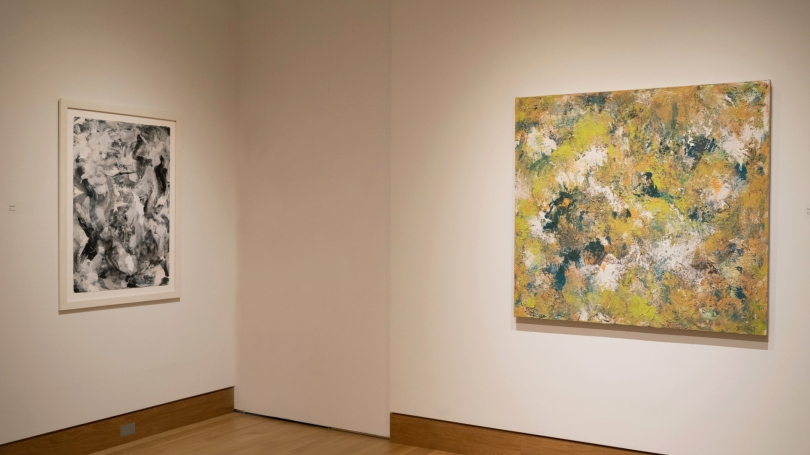 In the Midst of Something Splendid: Recent Paintings by Colleen Randallinstalled in Jaffe and Hall Galleries. Photo by Brian Wagner.