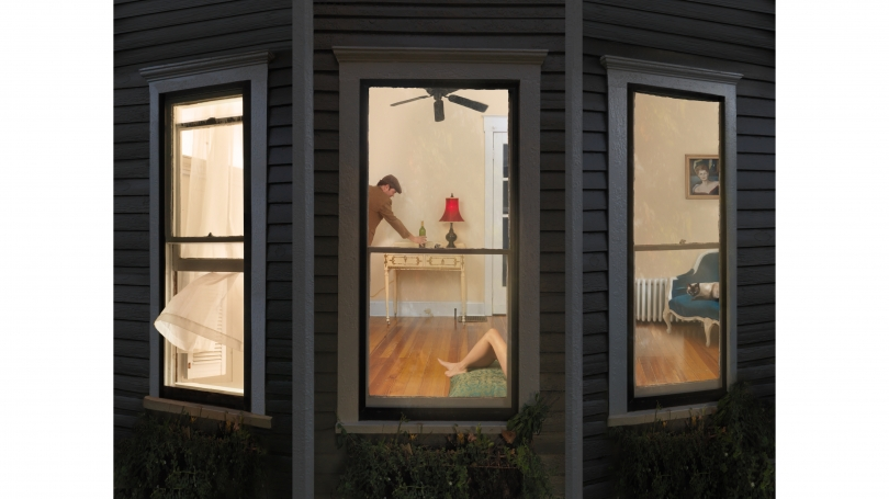Julie Blackmon, Night Window, 2008, archival pigment print. © Julie Blackmon, courtesy Robert Mann Gallery