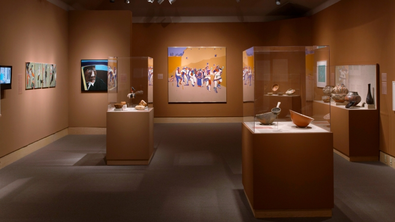 Native American Art at Dartmouth: Highlights from the Hood Museum of Art installed in the Hood Museum of Art's second-floor galleries. Photo by Jeffrey Nintzel.