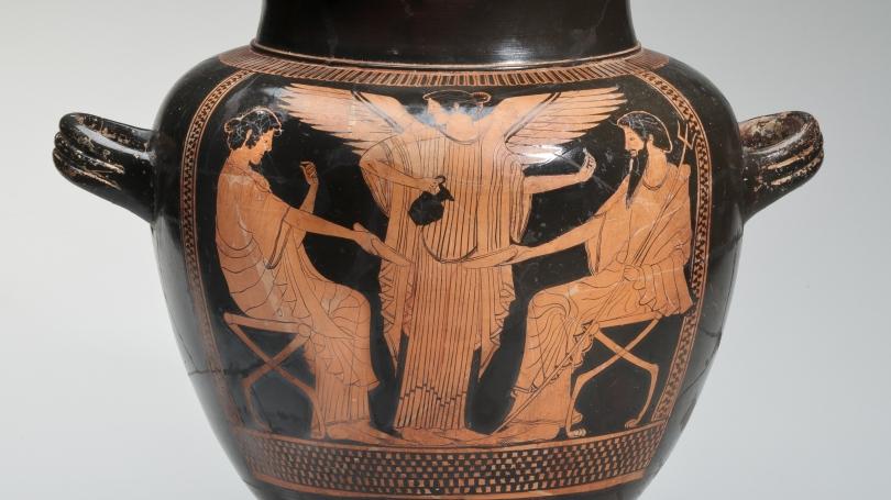 Urn, Poseidon and Amphitrite receiving libation from Nike