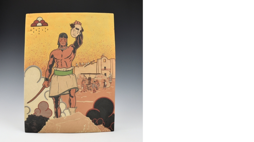 Jason Garcia (Santa Clara Pueblo), Tewa Tales of Suspense!, 2018, Native clay tile, painted with native clay slips and pit fired, Hood Museum of Art, Dartmouth: Purchased through the Julia L. Whittier Fund; 2019.39.2. © Jason Garcia, courtesy King Galleri