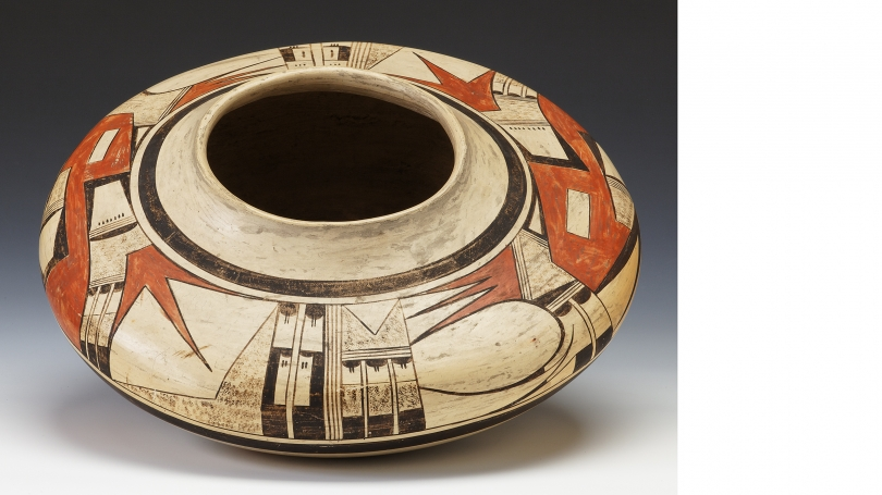 Nampeyo (Hopi-Tewa), 1858/1859 – 1942, Seed Jar, Early twentieth century, Hano polychrome with white and red slip, Hood Museum of Art, Dartmouth: Gift of Emily W. and George H. Browne; 42.12.8107