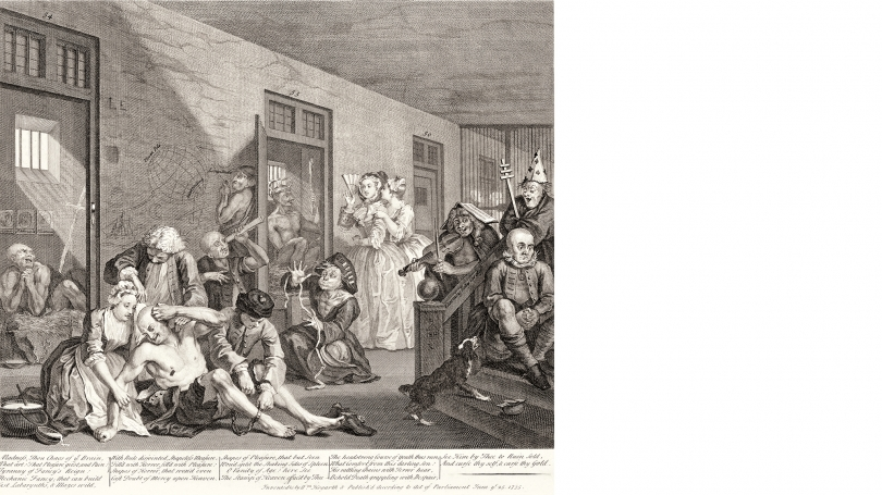 William Hogarth, A Rake's Progress, plate 8, 1735, etching and engraving on laid paper.