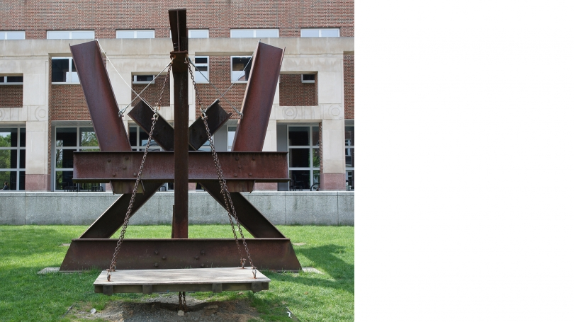 Mark di Suvero, X-Delta, 1970, iron, steel, wood. Gift of Hedy and Kent M. Klineman, Class of 1954; S.976.72. Photo by Alison Palizzolo.