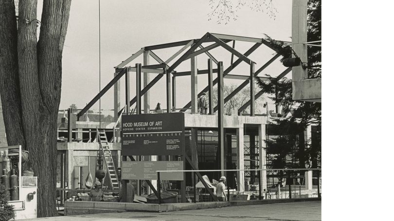 Construction of Charles Moore building, 1984.