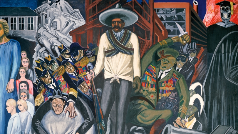 Detail from José Clemente Orozco, The Epic of American Civilization: Hispano-America (Panel 14), 1932–34, fresco. Hood Museum of Art, Dartmouth: Commissioned by the Trustees of Dartmouth College; P.934.13.16. Photo by Jeffrey Nintzel.