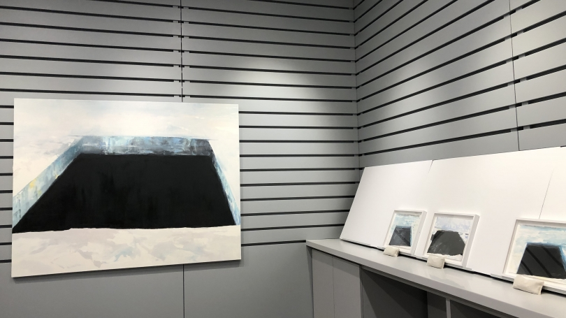 Eric Aho's Ice Cuts were displayed during a 2019 Winter Carnival art-viewing session.