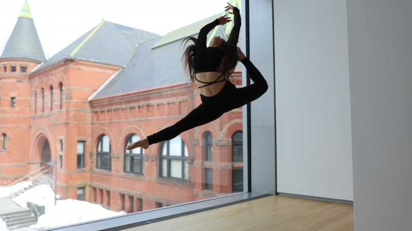 Sugarplum dancer poses in Engles Gallery.