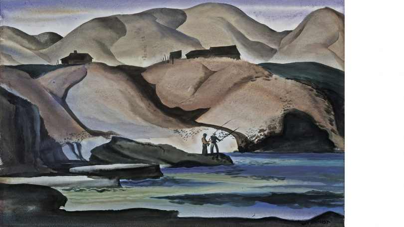 Rex Brandt, California Coast, 1936, transparent watercolor over graphite indications on wove paper. Gift of Philip H. Greene, in memory of his wife and co-collector, Marjorie B. Greene; 2007.6.1.